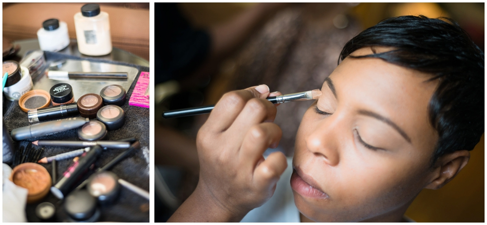 bride makeup preparations on wedding day