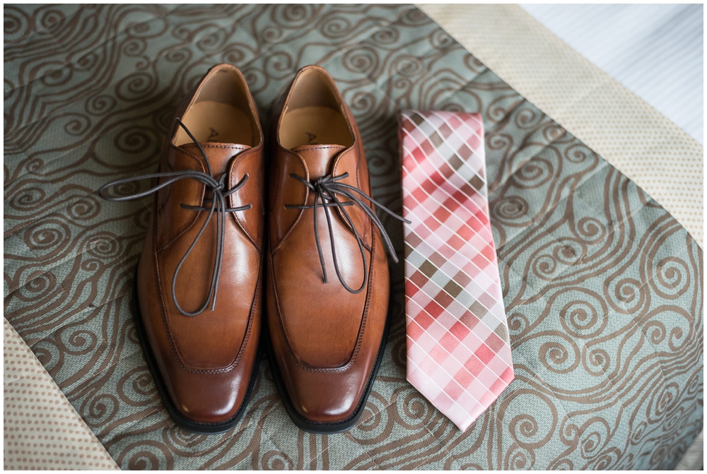 groom's shoes and tie