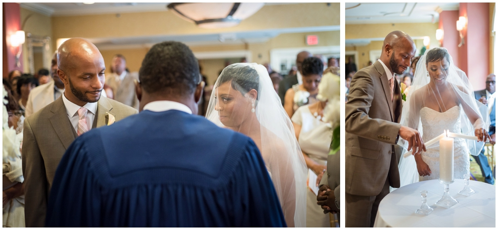 wedding ceremony moment looking back at guests