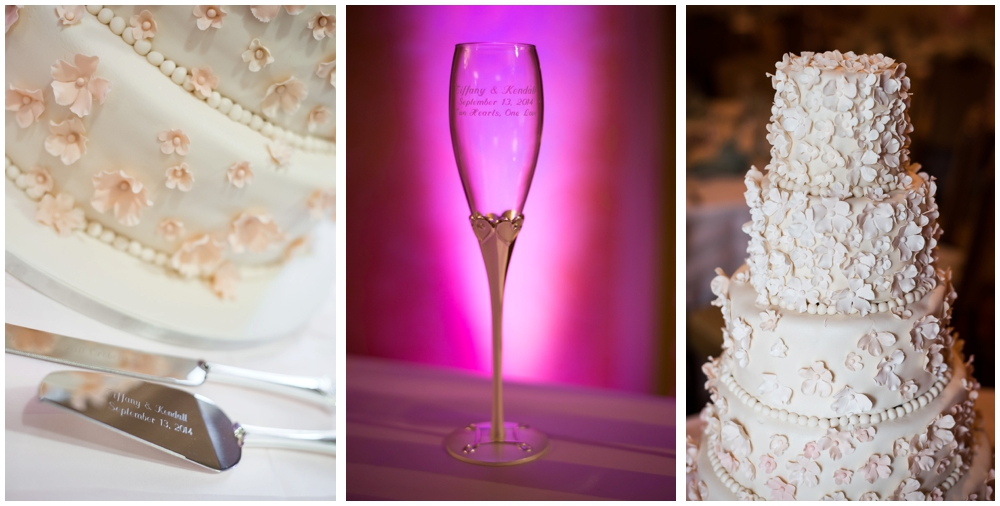 detail of cake and champagne glass