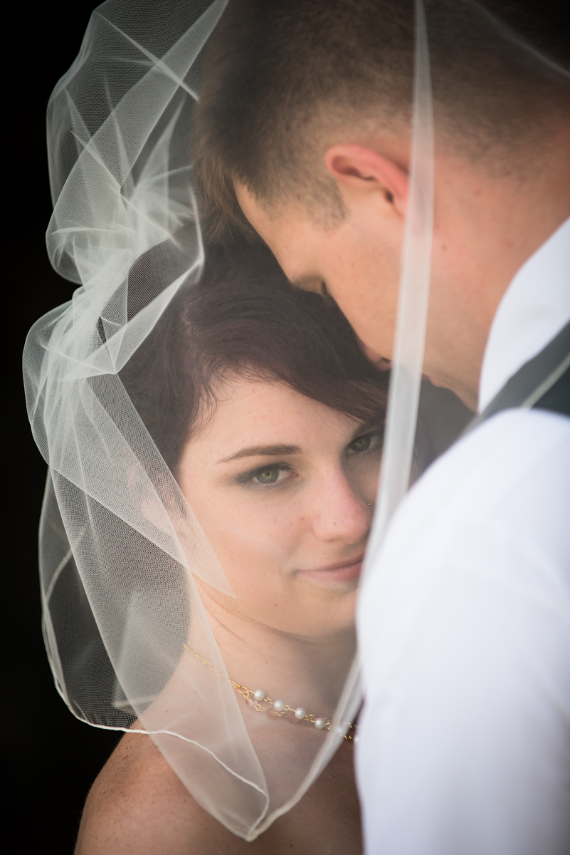 bride and groom portrait through veil