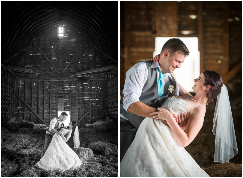 bride and groom portrait in barn