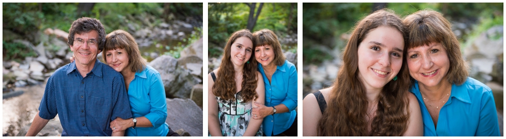 mother, father and teenage daughter portraits near stream