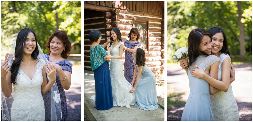 bride and family at rustic cabin westmoreland state park virgina wedding