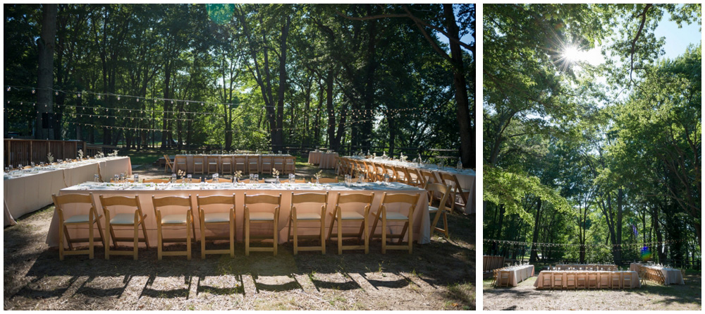 reception space at rustic cabin westmoreland state park virgina wedding