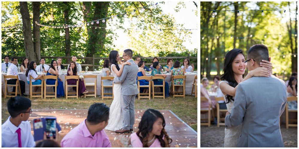 bride and groom first dance at rustic cabin westmoreland state park virgina wedding