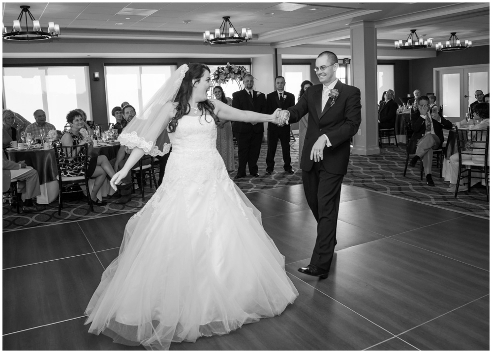 bride and groom first dance at wedding reception