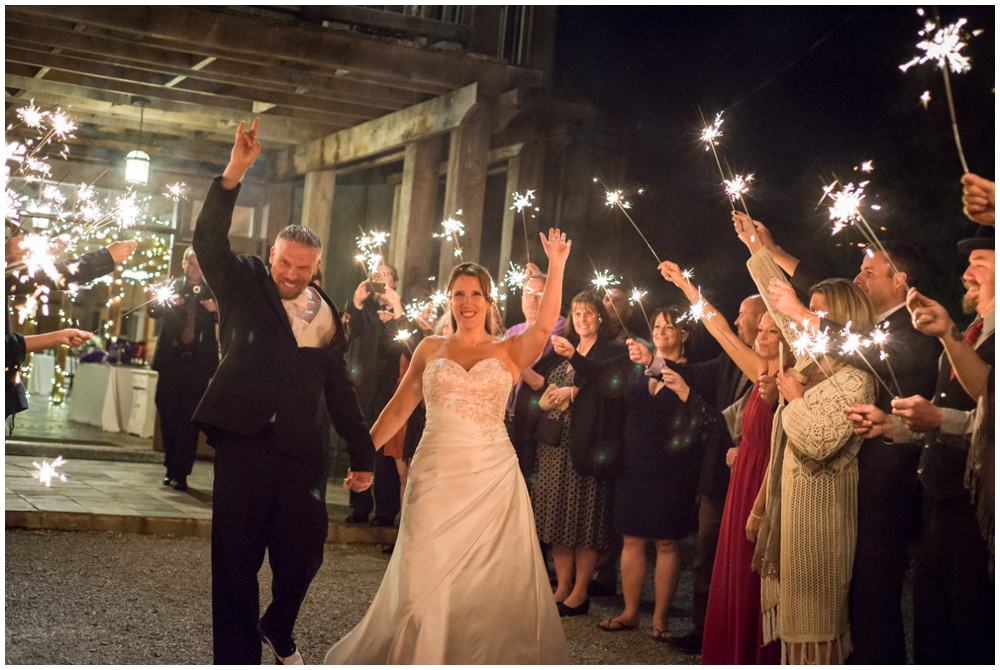 bride and groom sparkler exit from wedding reception