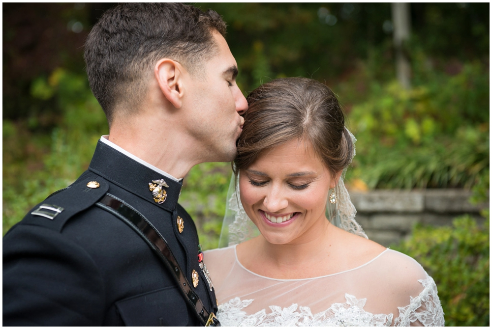 bride and groom portrait military wedding