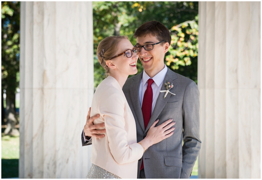bride and groom portrait at monument