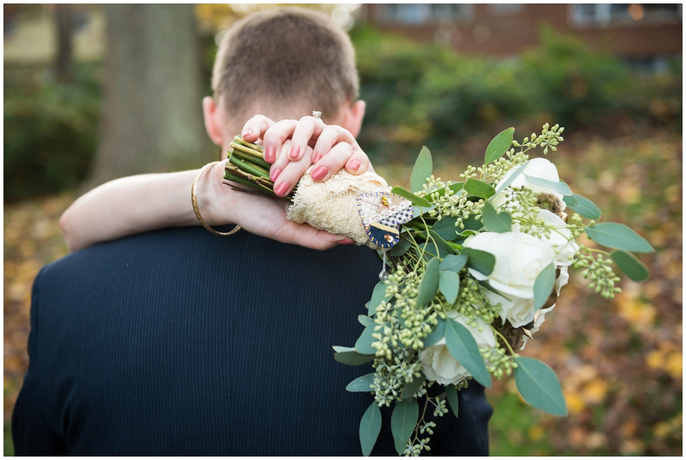 bride and groom portrait with bouquet