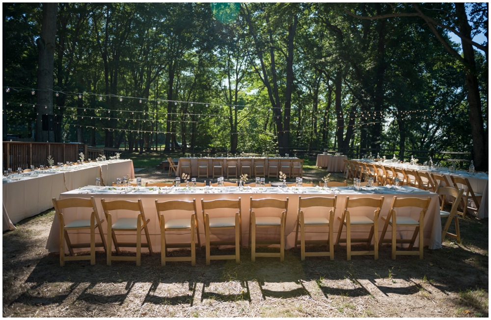 rustic wedding reception at state park