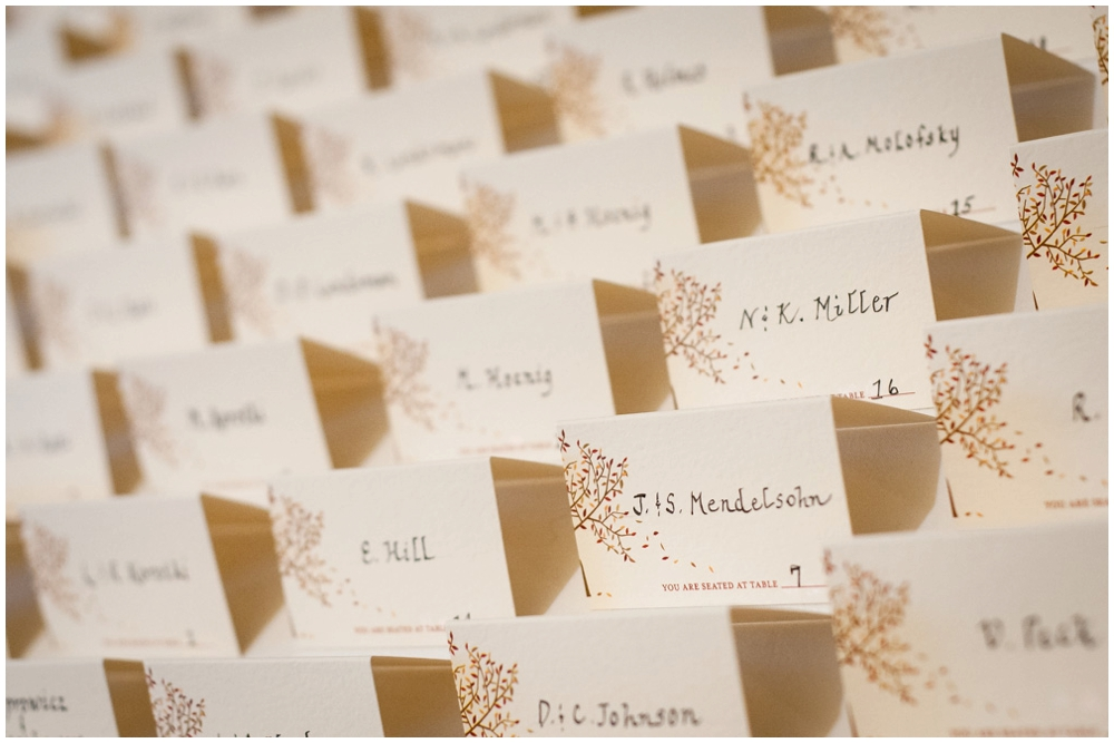 place cards at wedding reception