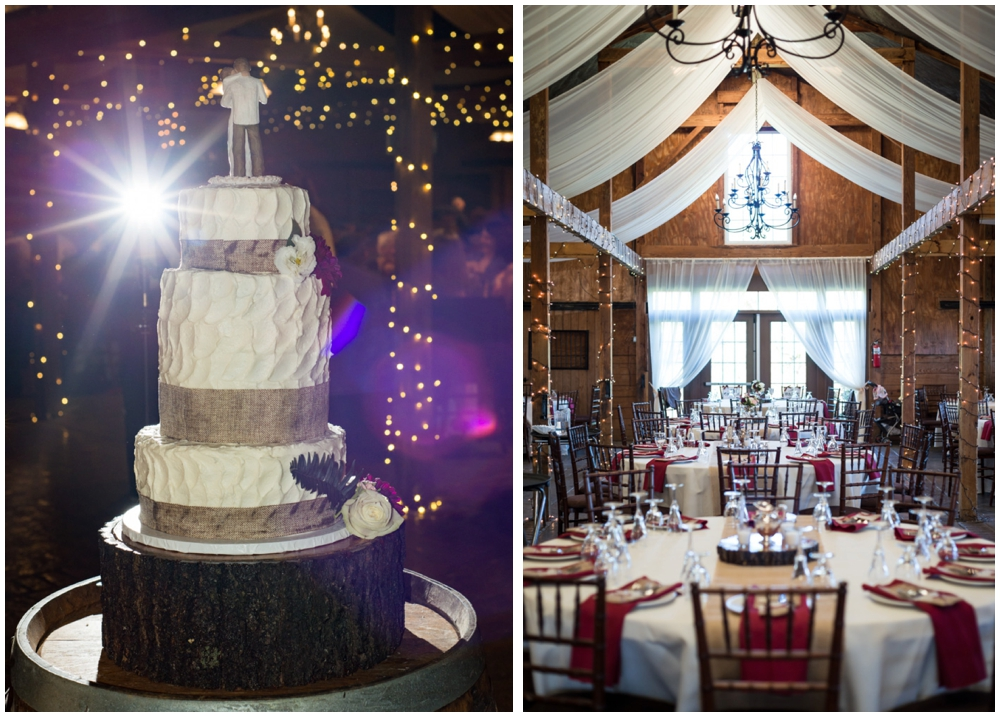 rustic wedding cake and winery reception decor