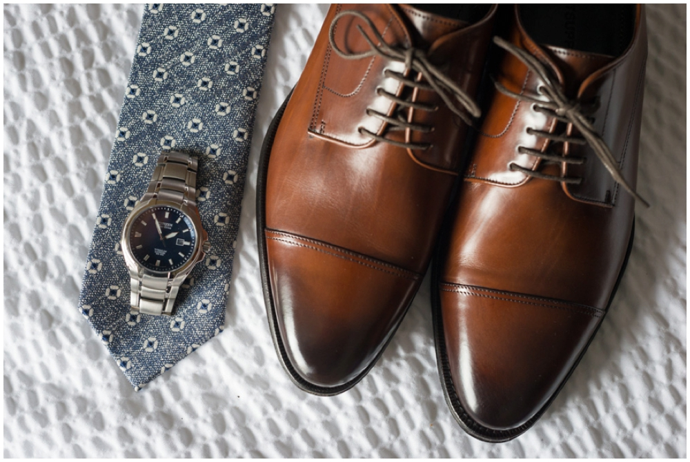 groom's shoes, watch and tie
