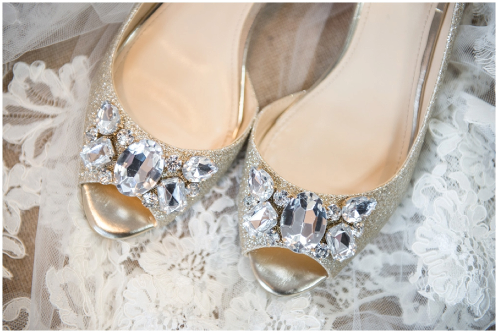 bride's shoes and veil