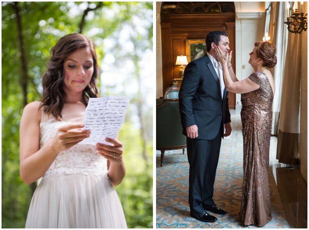 bride reading letter and groom with mom