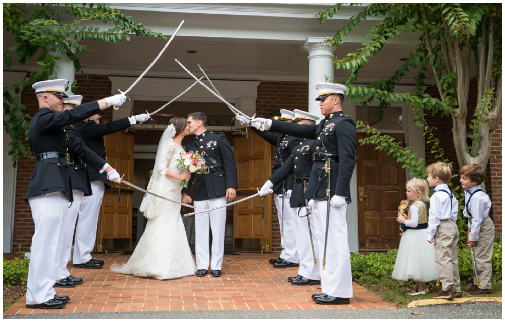 military sword ceremony recessional after recessional with cheering during wedding ceremony