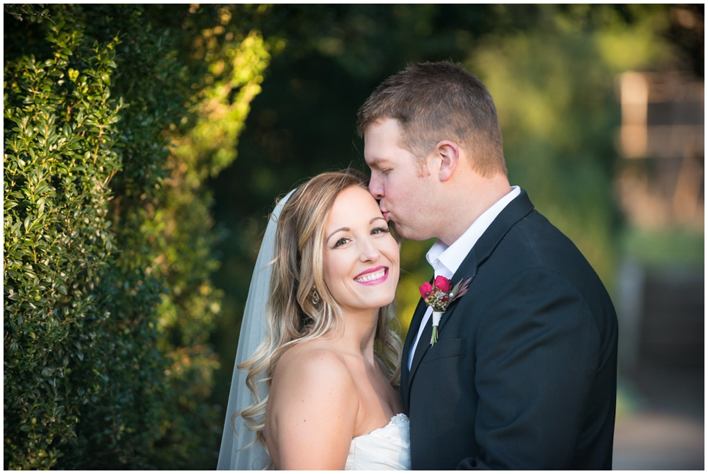 Wedding portraits of bride and groom at Raspberry Plain in Leesburg, Virginia.