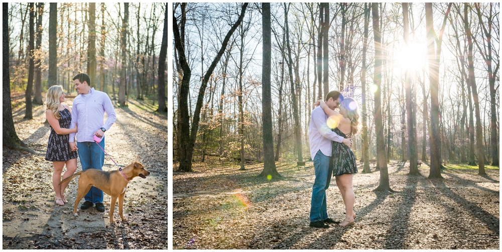 engaged couple with dog at park with trees