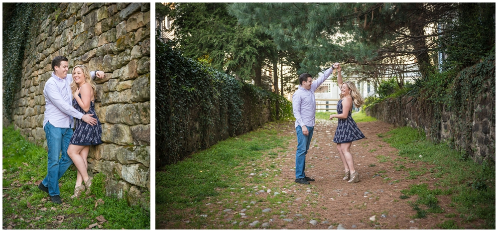 engaged couple in cobblestone alley