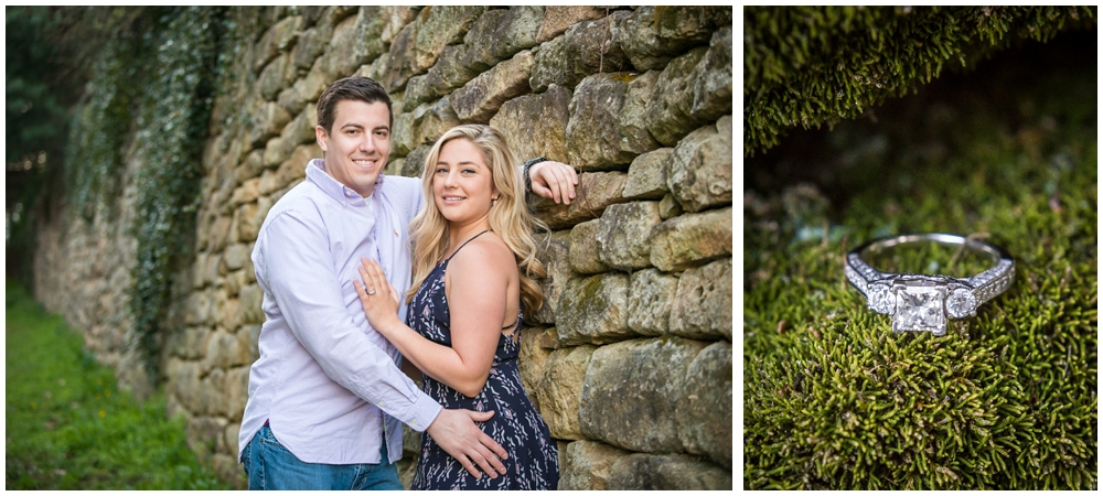 engaged couple in cobblestone alley and engagement ring