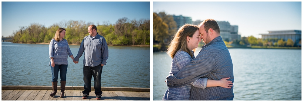 engaged couple on boardwalk in Georgetown DC along Potomac River.