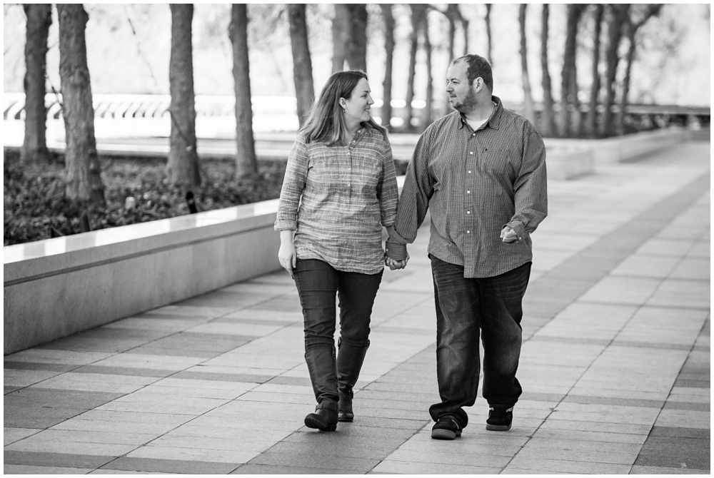 engaged couple on Kennedy Center terrace, Washington DC