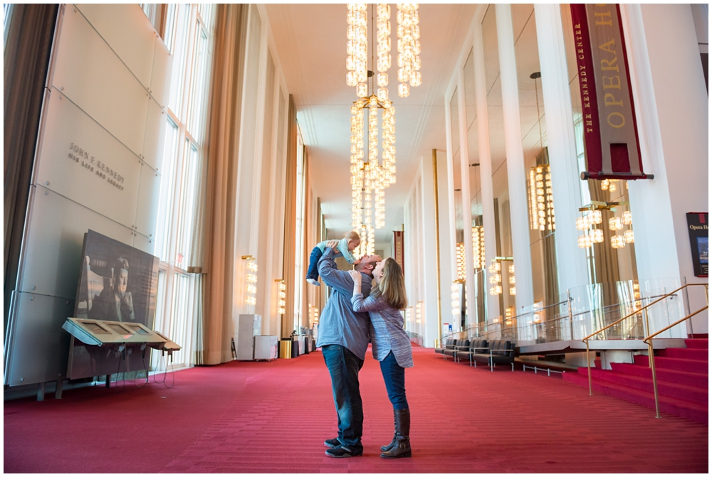 engaged couple with child at Kennedy Center, Washington DC