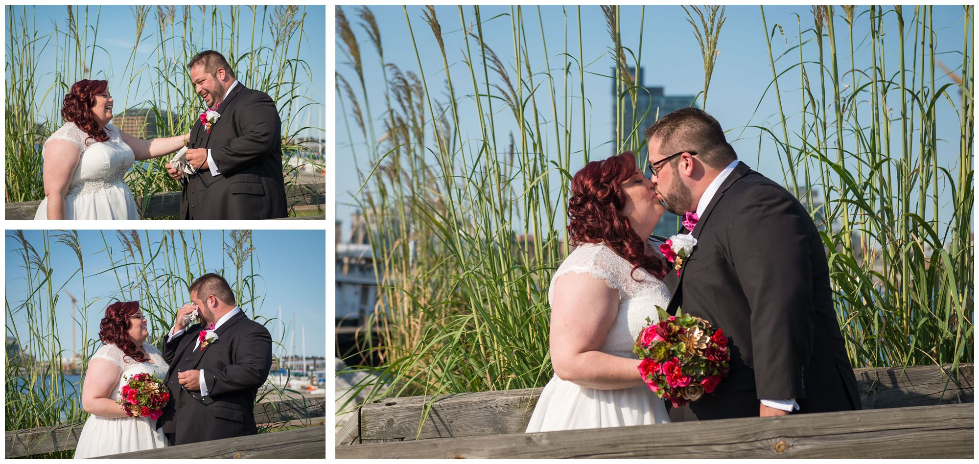 First look between bride and groom on Baltimore inner harbor
