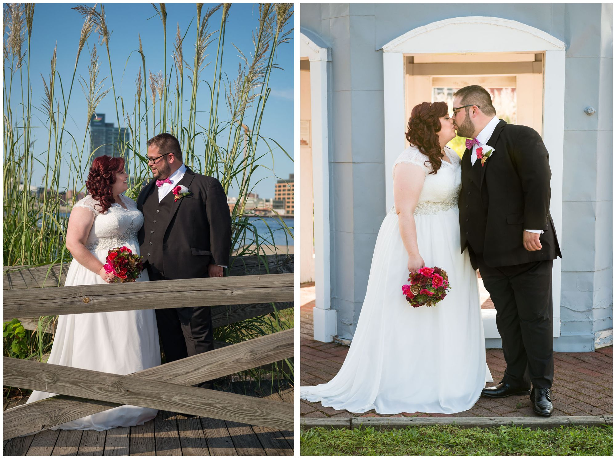 Bride and groom portraits at Baltimore Museum of Industry wedding