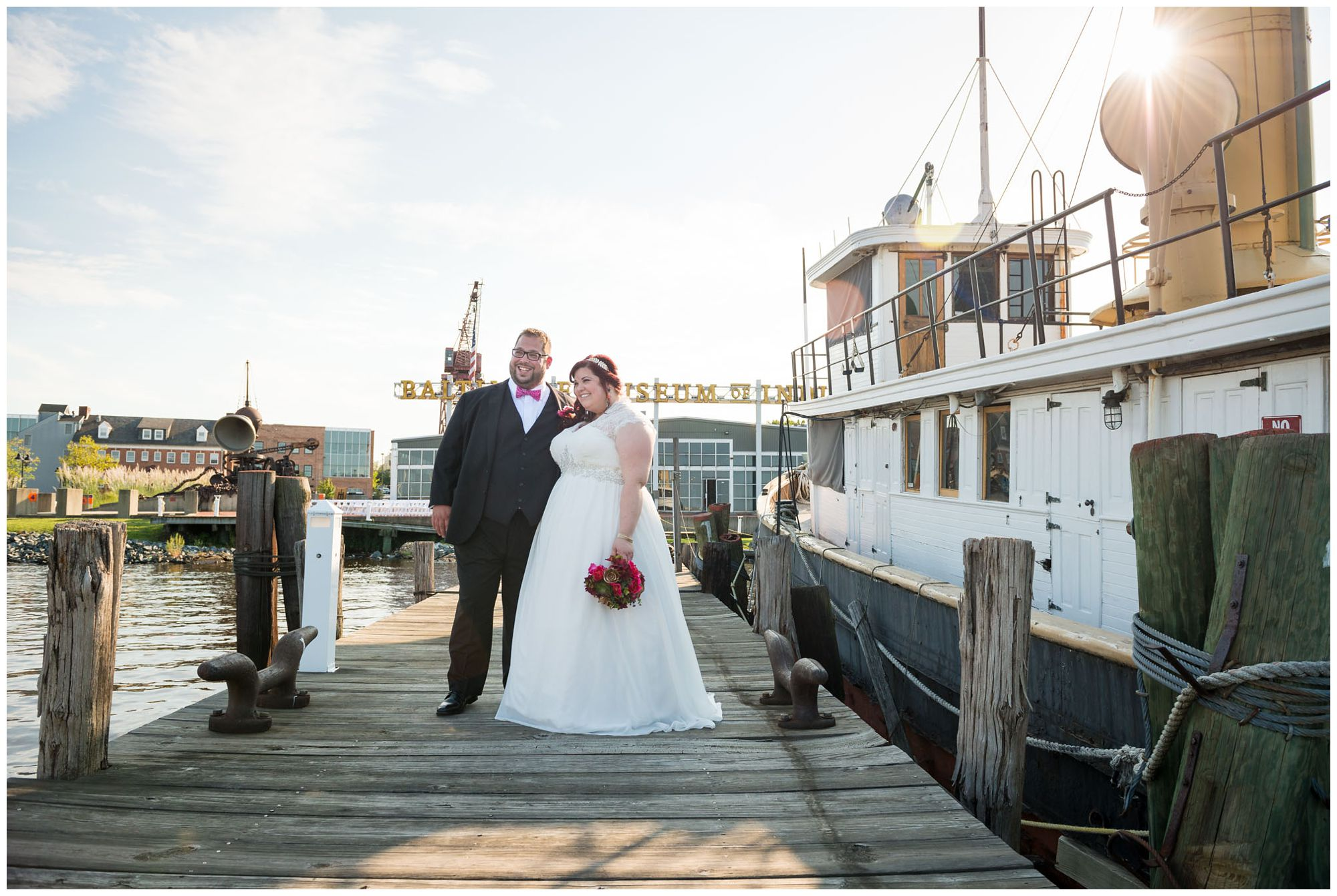 Bride and groom portraits at Baltimore Museum of Industry harbor wedding