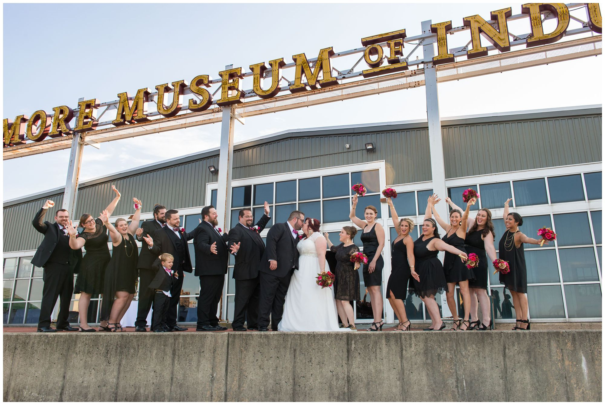 Bridal party at Baltimore Museum of Industry wedding