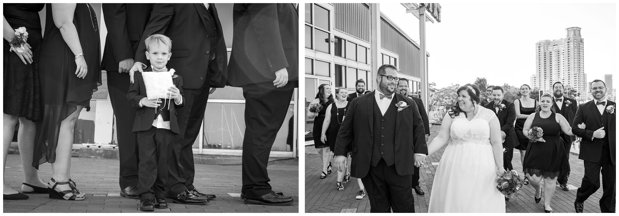 Bridal party and ring bearer at Baltimore Museum of Industry wedding