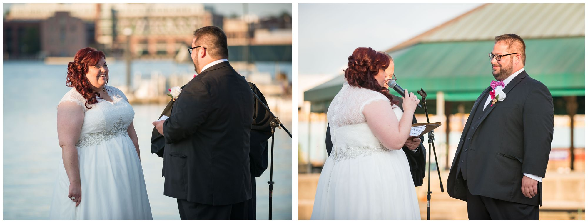 Bride and groom exchanging vows during harbor wedding at Baltimore Museum of Industry