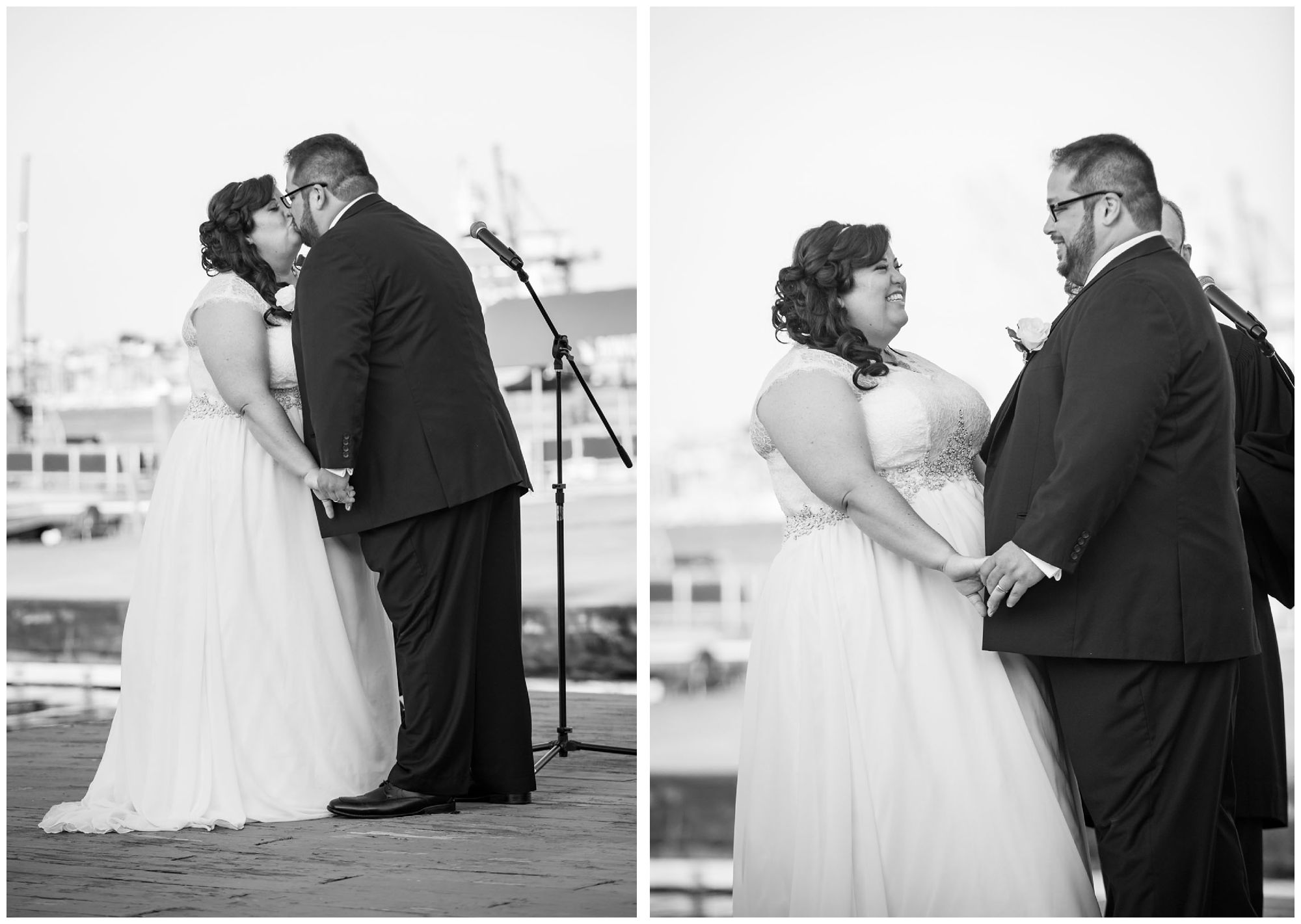 Bride and groom first kiss during harbor wedding at Baltimore Museum of Industry