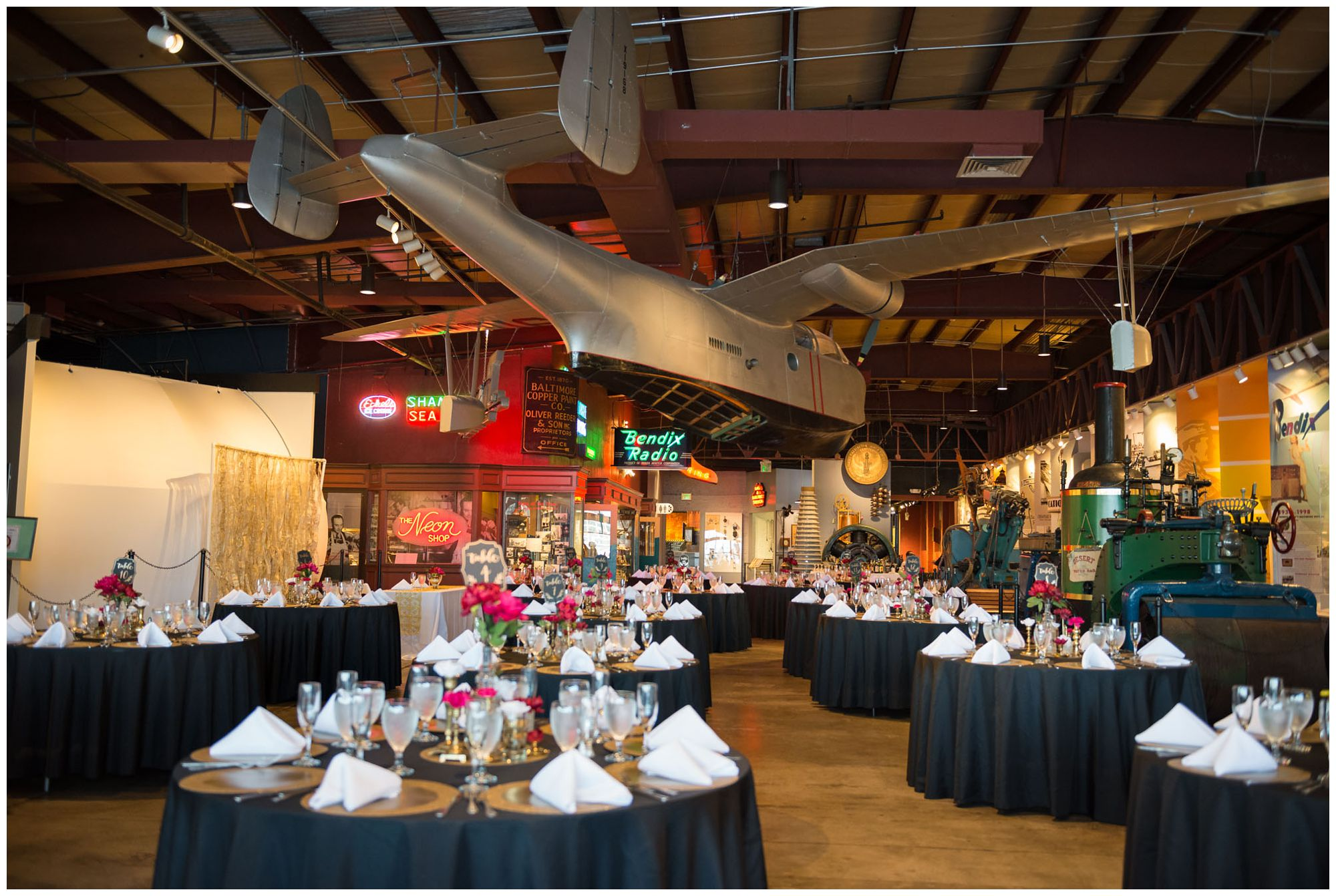 Reception decor at Baltimore Museum of Industry wedding