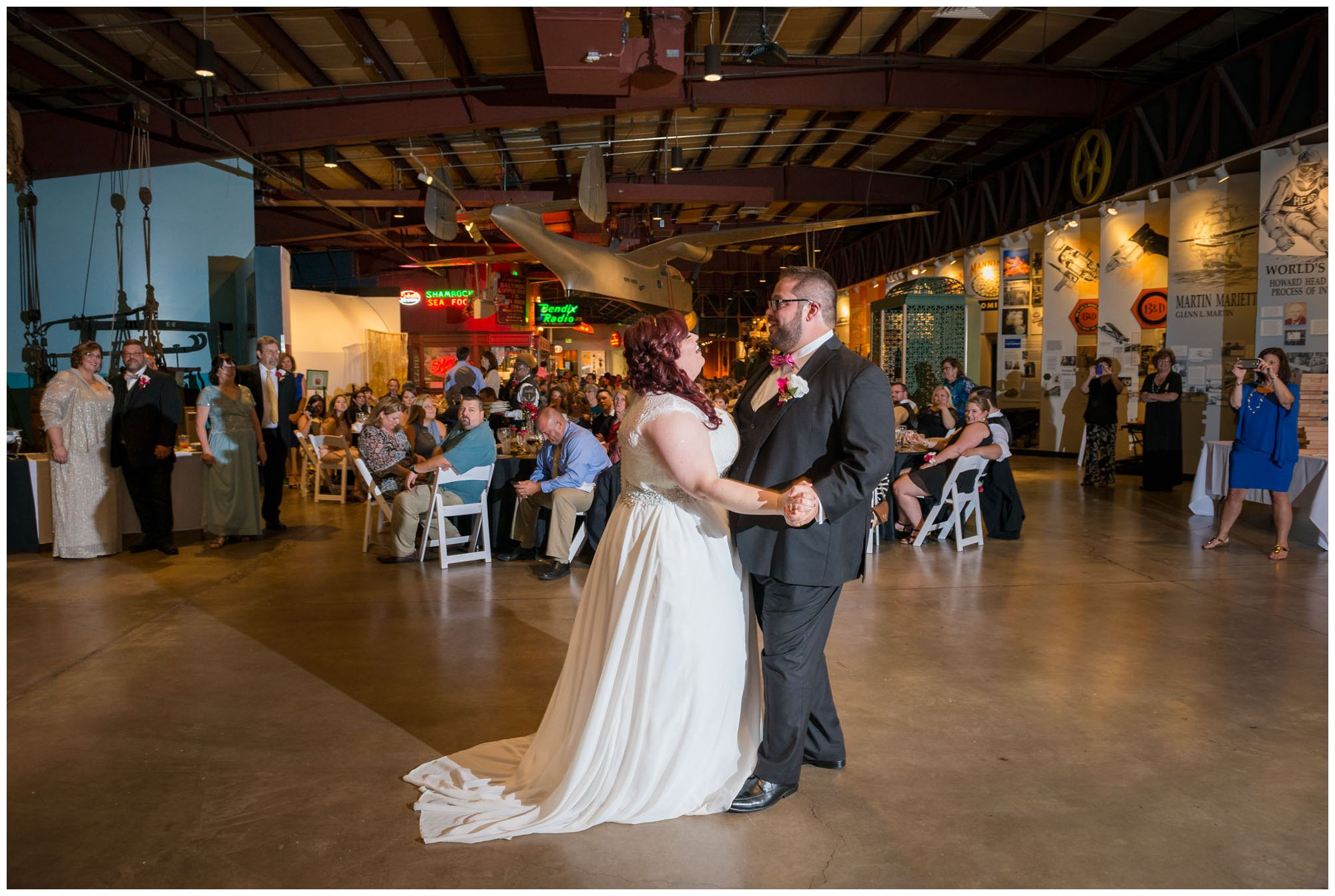 First dance during wedding reception at Baltimore Museum of Industry