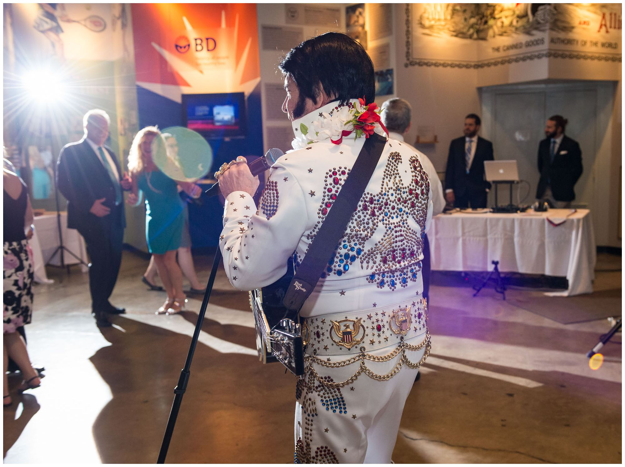 Elvis impersonator during wedding reception at Baltimore Museum of Industry
