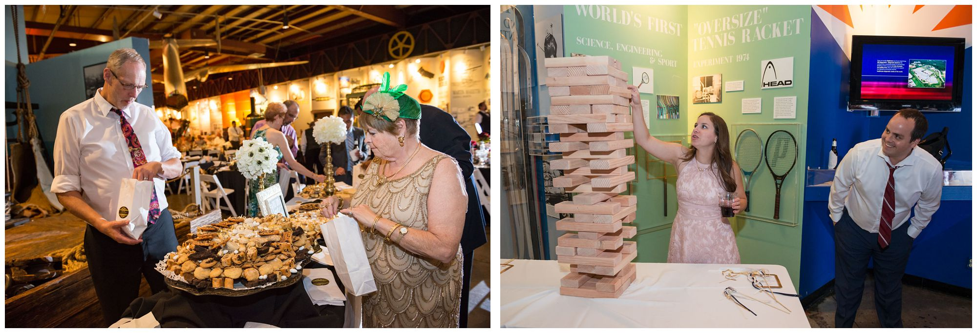 Italian cookie table and giant jenga during wedding reception at Baltimore Museum of Industry