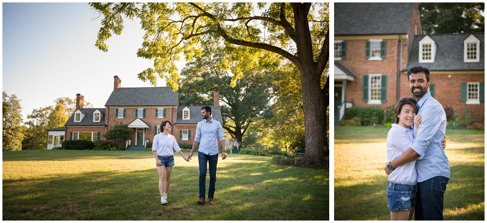 Engaged couple walking near historic manor house at Green Spring Gardens in Alexandria, Virginia