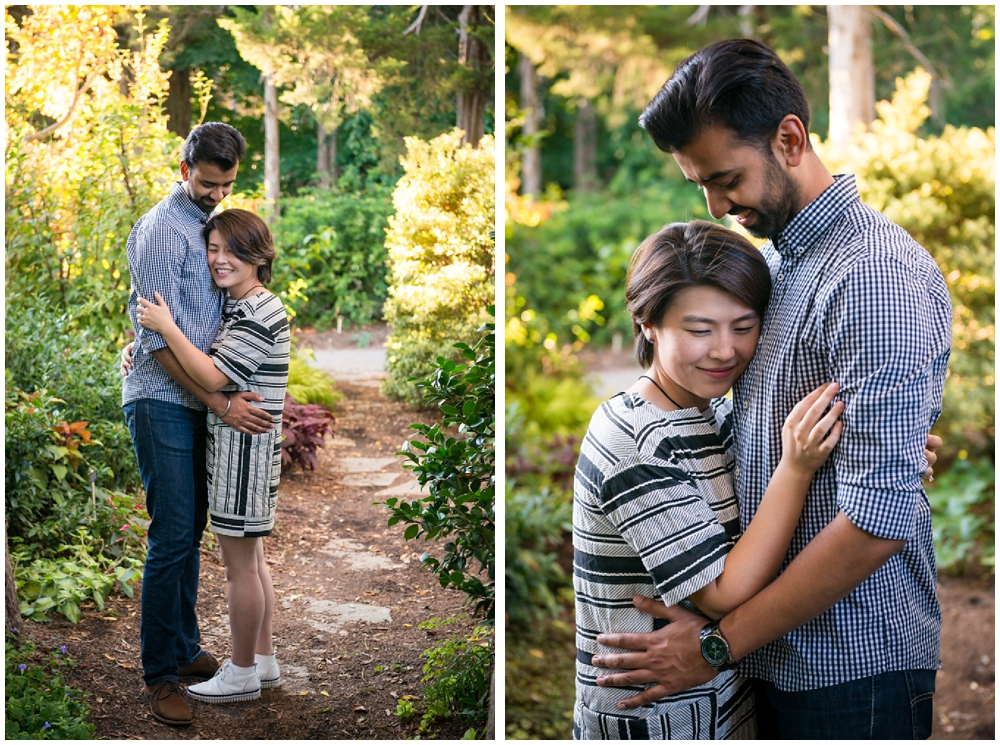 Engagement session amongst trees at Green Spring Gardens in Alexandria, Virginia