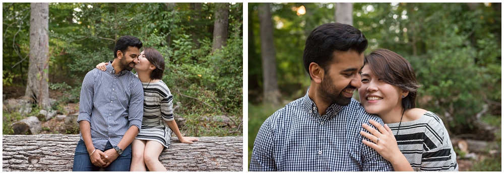 Engagement session in forest at Green Spring Gardens in Alexandria, Virginia