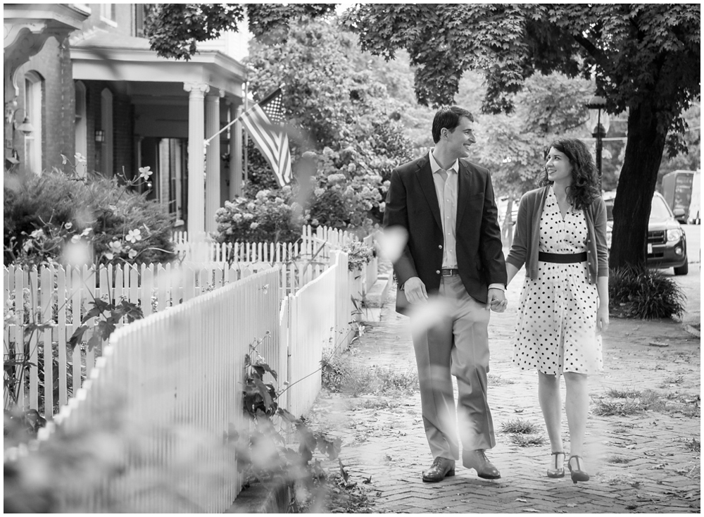 engaged couple walking in Richmond