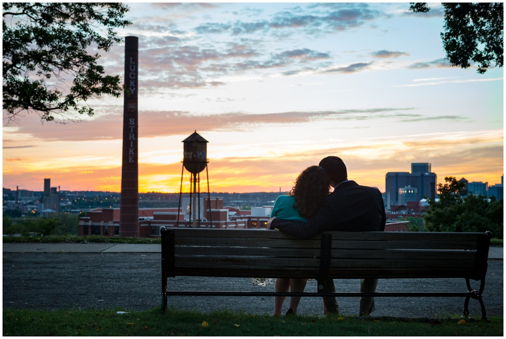 engaged couple at sunset at Libby Hill Park