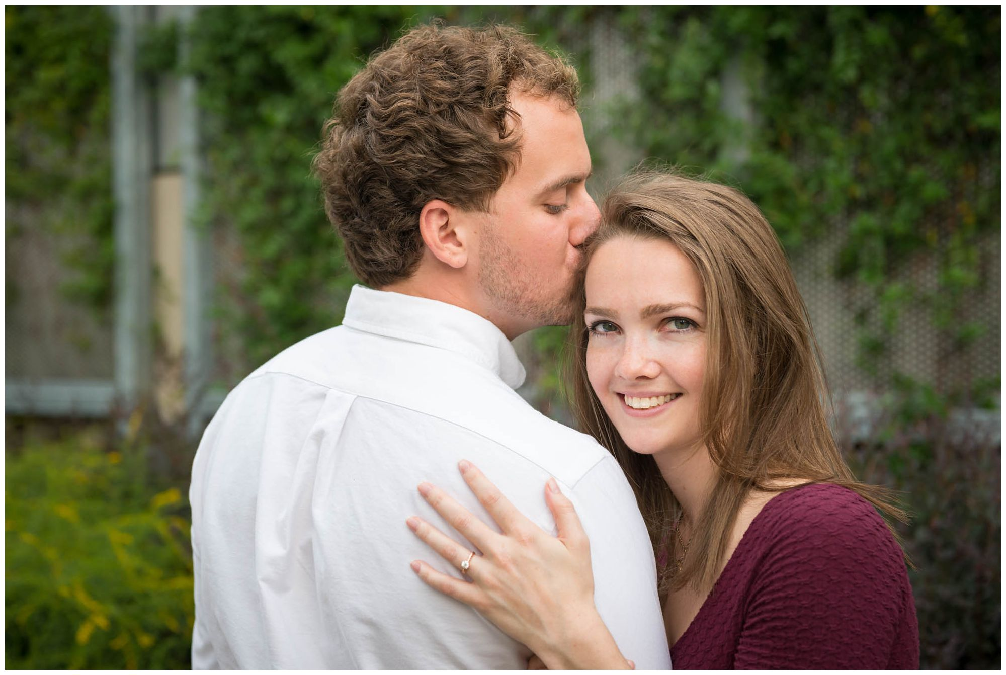 engaged couple in urban park