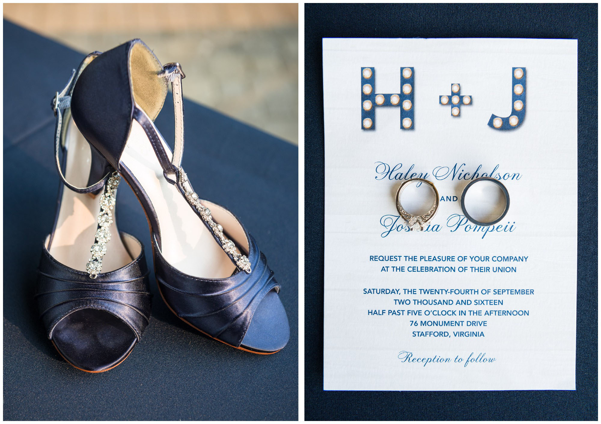 blue bride's shoes and invitation with wedding rings