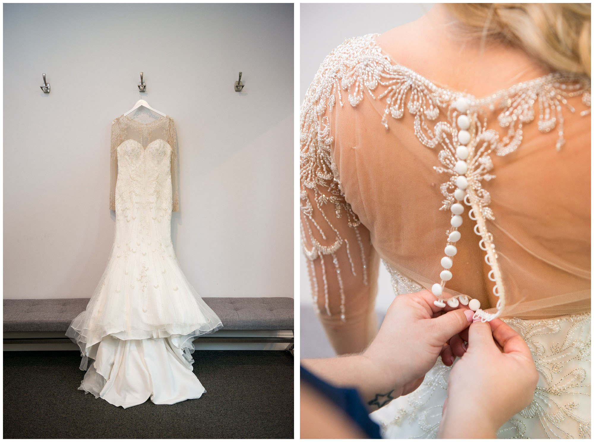 wedding dress with sheer sleeves, beading and buttons