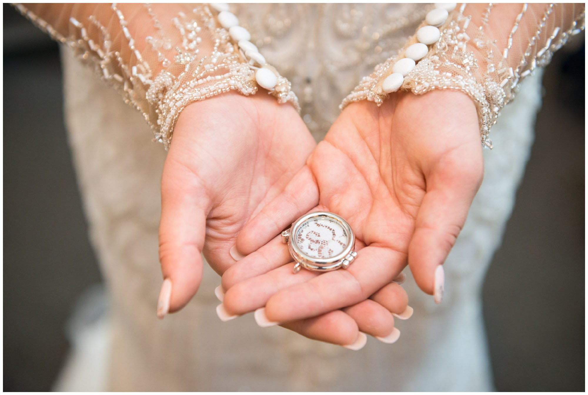 lace from bride's mother's wedding dress in locket
