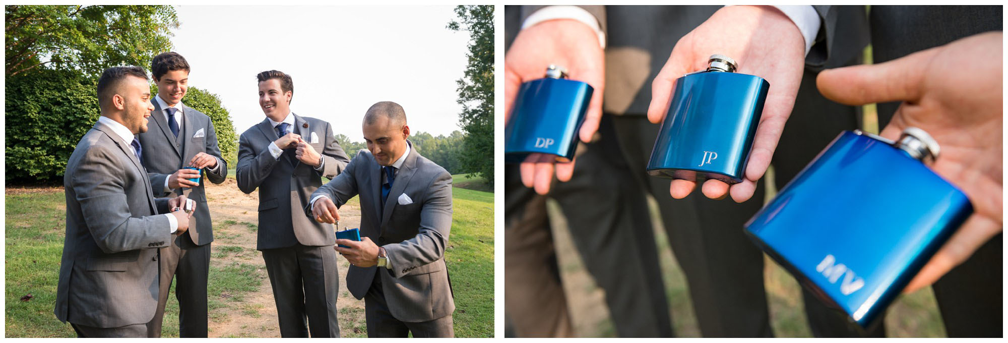 groomsmen toasting with flasks